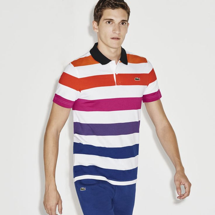 Vibrantly colored stripes enL!VEn this jersey Lacoste SPORT polo. Perfect for a lazy day in the bleachers.