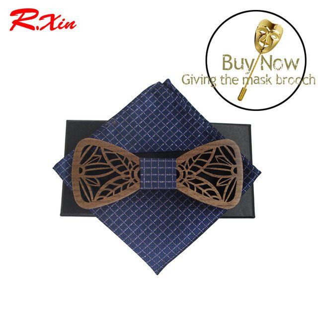 2017 Горячая Hollow Дерево Мода галстуки-бабочки с синим решетки карман квадратных Мужские Деревянный бабочка gravata бабочкой