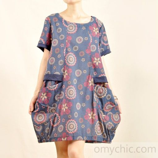 Vintage print sundress plus size cotton summer dress