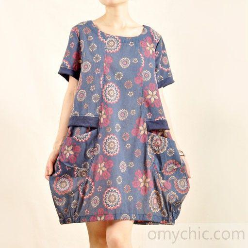 Vintage print sundress plus size cotton summer dress