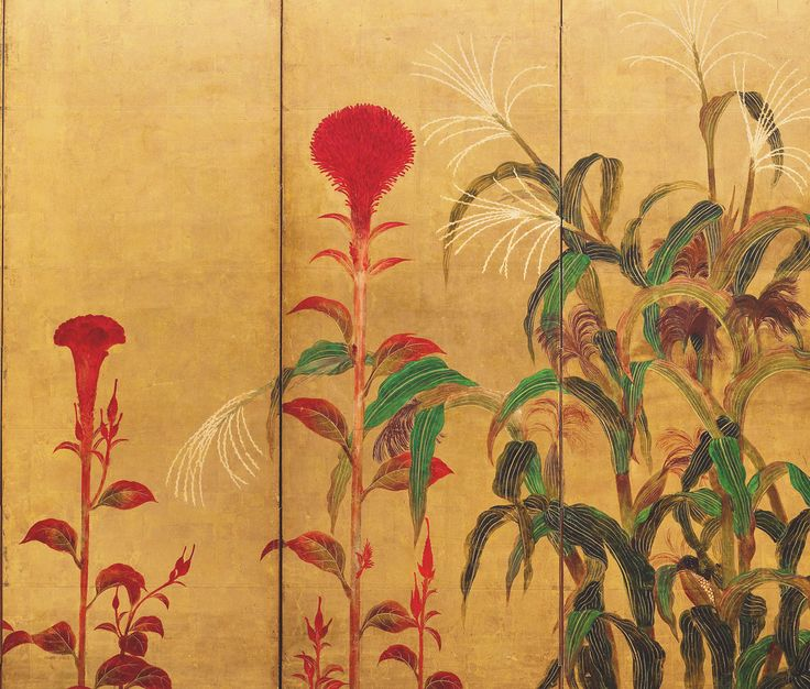 Detail: Maize and Cockscombs. Mid-seventeenth century . Artist Unknown Six-panel screen. Ink, color, and gold on paper