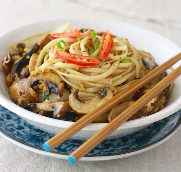 Ramen Noodles with Sautéed Mushrooms...could add a broth to make it like
