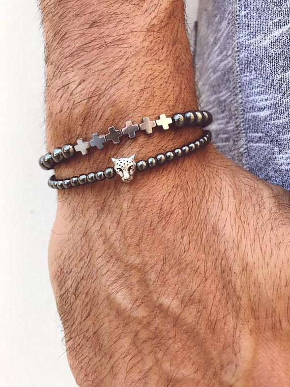 Hematite Bracelets Men, Cross Bracelet, Beaded Bracelets, Men's Bracelet, Minimal Bracelet, Hematite Bracelets, Tiger Bracelet, Gift for Him