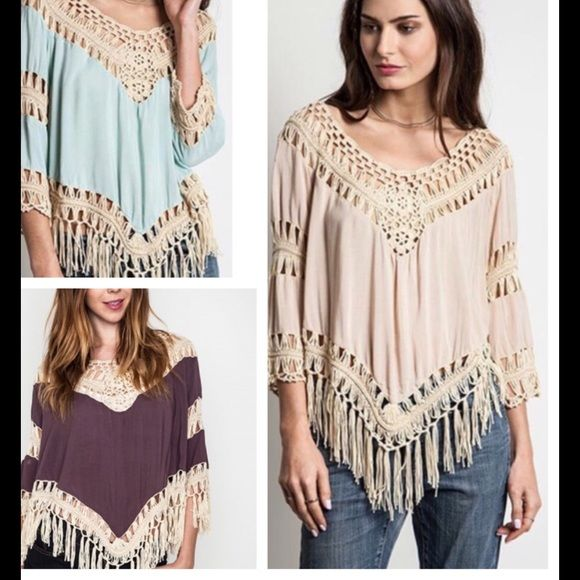 Tops -  Crochet Fringe Boho Top Frayed Blouse S M Or L