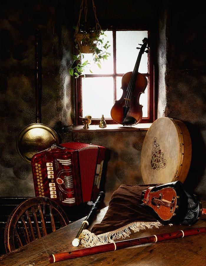 Traditional Musical Instruments.  Now this is exactly ( along with an upright Piano) how I have seen my Musical Corner when I start. This lovely collection has inspired me to get moving...literally!