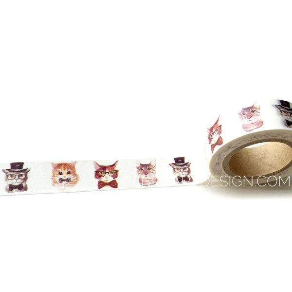 Hipster Cat Decorative Tape