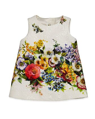 Matelasse Shift Dress with Floral-Detail, 3-24 Months  by Dolce & Gabbana at Bergdorf Goodman.