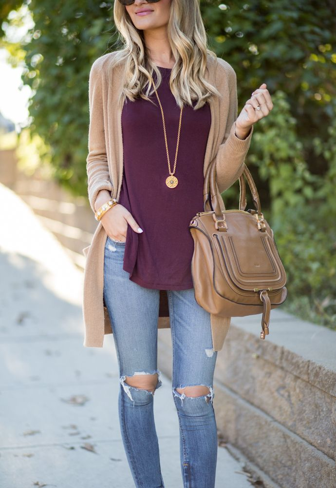 Distressed Denim, Tan Cardigan, Burgundy Tee // Fall Uniform