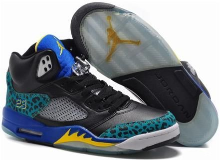Retro Jordan 5 Nike Brand Black Yellow Blue Mens Training Sneakers - H\u0026M x  Versace