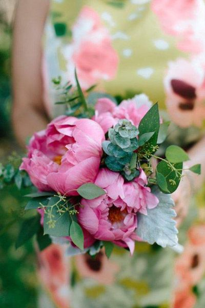 Pink peony and eucalyptus bouquet