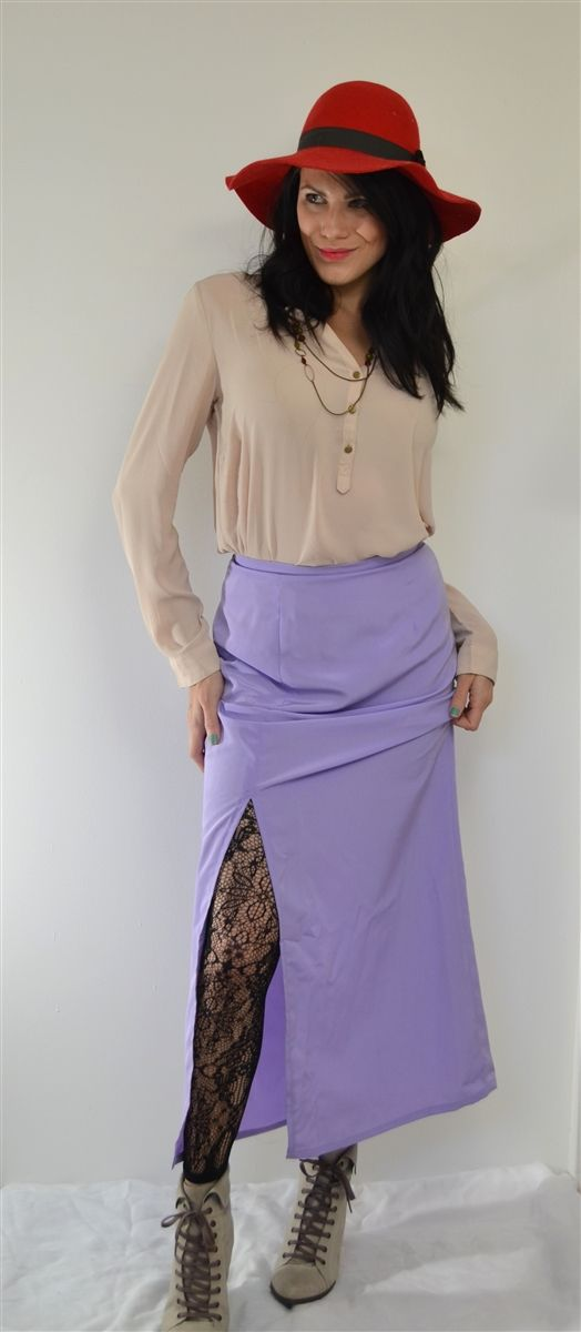 maxi skirt peach skin with off center slit