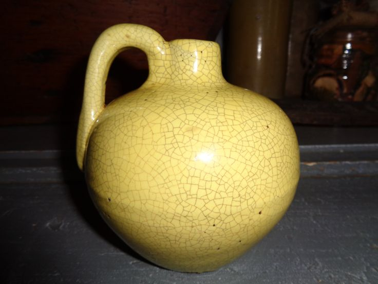 Yellow Ware Squatty Jug by FairchildsInc on Etsy