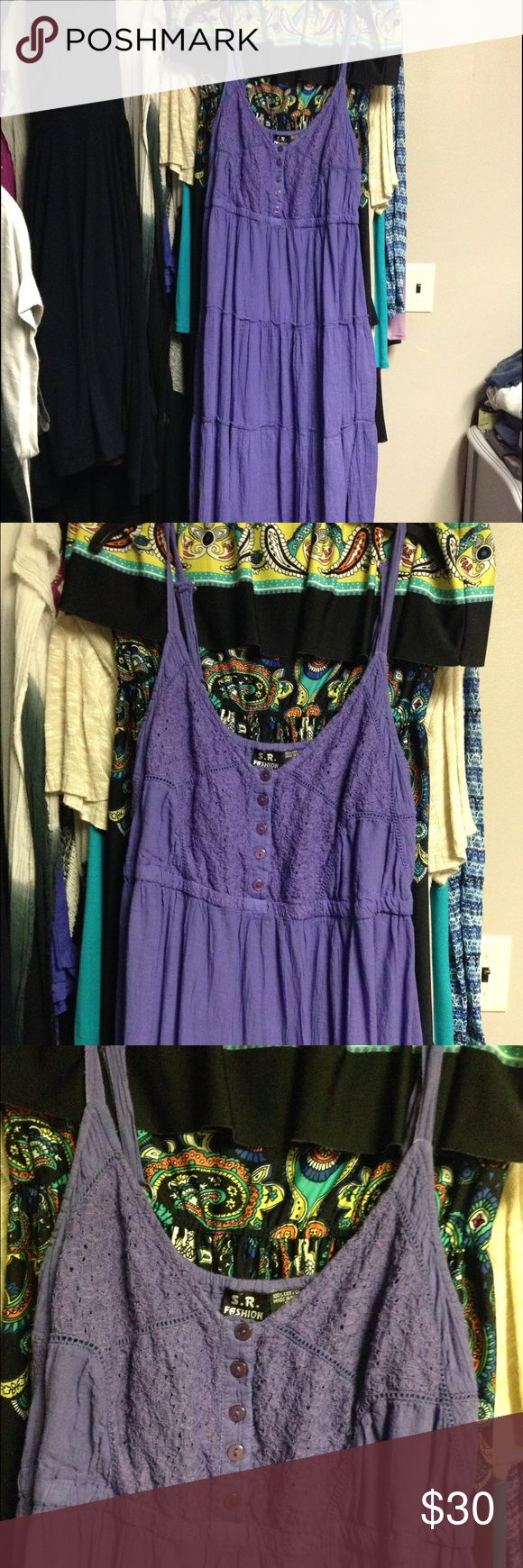 new listing purple sundress NWOT.  Purple sundress.  100% cotton.  Ordered online.  It's cute but just isn't me...  My loss = your gain! S.R. Fashion Dresses Maxi