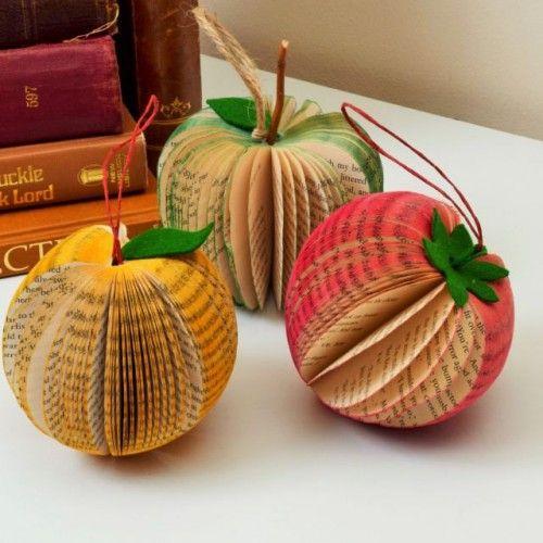 Book Art Fruit, Apple, Strawberry, Orange Available from http://www.creatoncraftsandgifts.co.uk/shop/book-art/book-art-fruit/