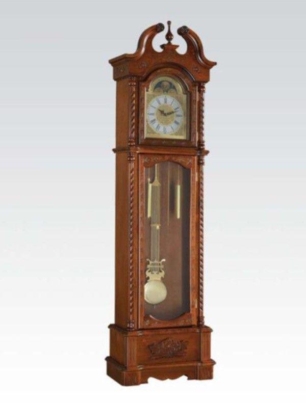 Acme Furniture - Quincey Grandfather Clock in Dark Oak - 97085