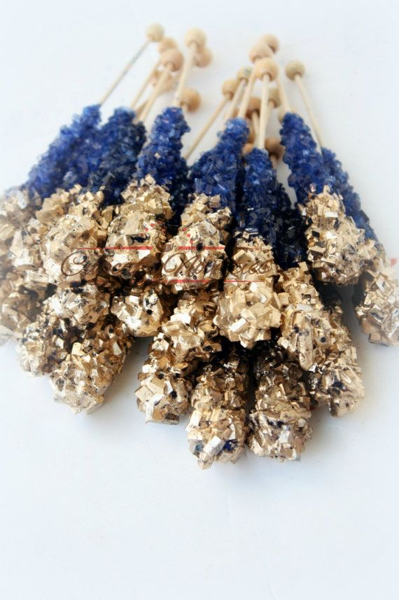 Buy Online! Elegant & delicious Blue and Gold themed Rock candy!
