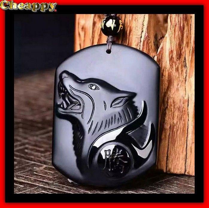 Zwarte Wolf amulet gesneden uit natuurlijke obsidiaan - Cheappy