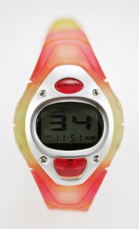 Rumours Watch Womens/Youth Yellow Pink Plastic 24hr Light Date Alarm Stop Quartz