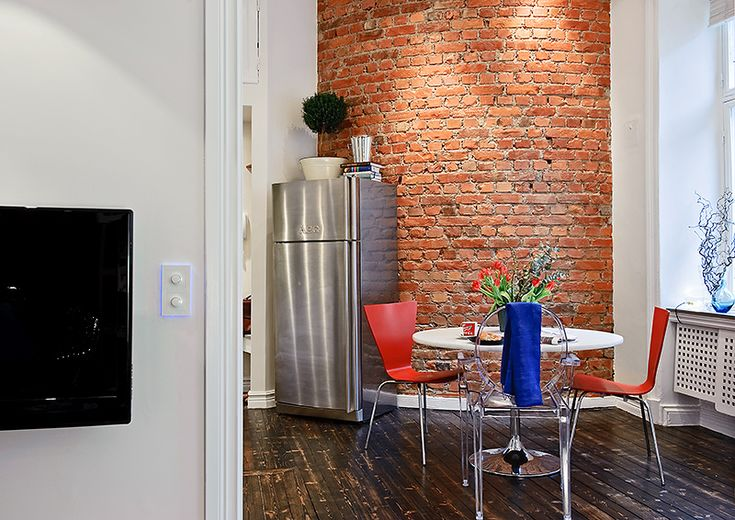 Small Swedish Apartment Securing The Inhabitant's Every NeedSmall Apartments, Red Bricks, Small Places, Loft Kitchens, House Interiors, Apartments Security, Interiors Design, Small Spaces, Apartments Design