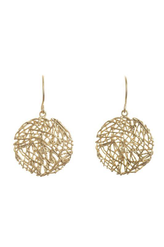 NEST EARRINGS- A$38.00 Matte finished silver/gold plated brass 'nests' attached to matte silver/gold plated hooks.
