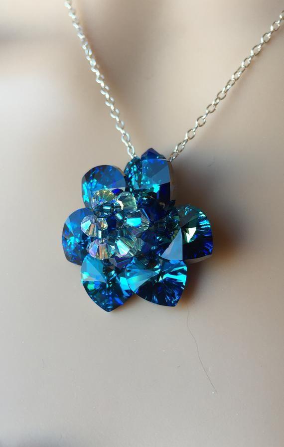 BERMUDA BLUE SWAROVSKI Crystal Necklace Flower Heart Pendant ...