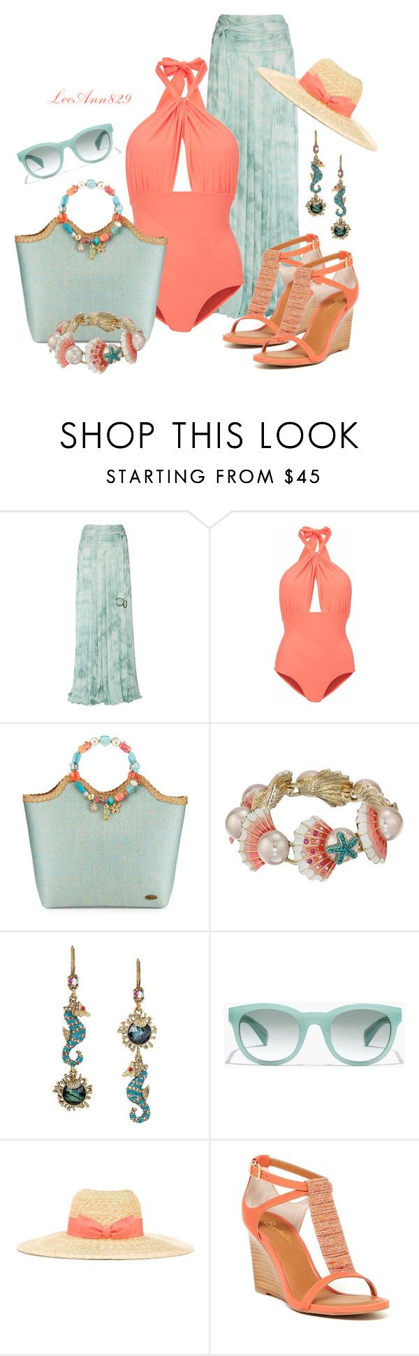 """swimwear"" by leeann829 ❤ liked on Polyvore featuring Roberto Cavalli, Lilliput & Felix, Cappelli, Betsey Johnson, J.Crew, Lanvin and Seychelles"