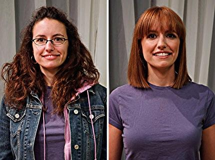 Hair Makeover : Model with hair makeover into a bob that makes her look younger