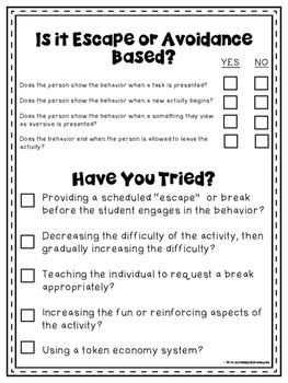 These are free forms that you can use when doing a behavioral assessment.