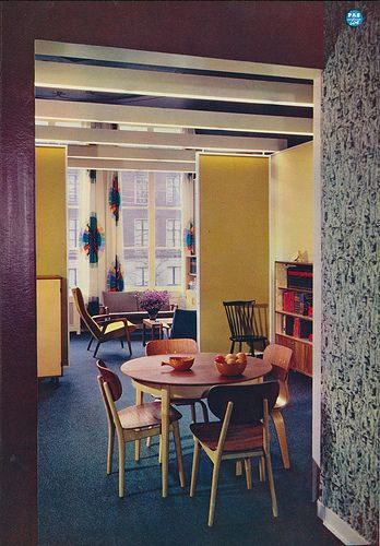 Interieur 1960 Pas-toe meubelen ... I am loving these wall color layers and designs... with the curtains. so awesome.