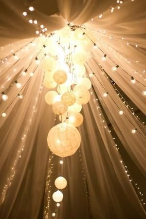 Outdoor or indoor, this is gorgeous! All you need is tulle, round bulb string lights (or Christmas lights), paper lanterns, and you could us...