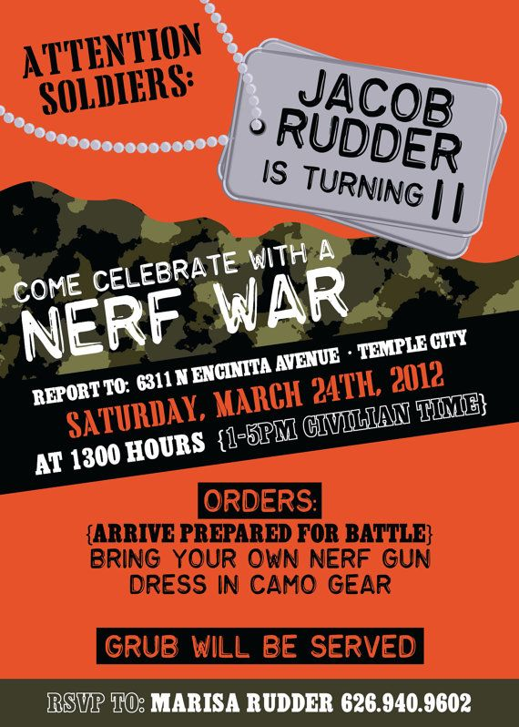 bday party like the invitation wording have a nerf battle party idea pinterest birthdays. Black Bedroom Furniture Sets. Home Design Ideas