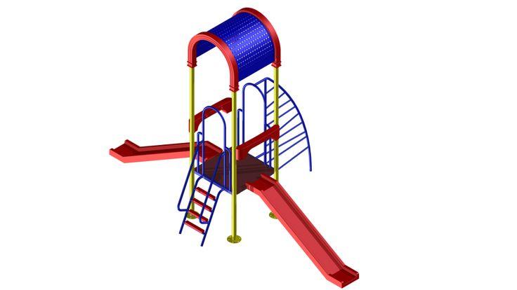 02 tobogán recto   02 toma plástica seguridad   01 escalera de acceso   01 trepador cobra   01 plataforma plastisol   02 arcos de estructura   01 techo de malla perforada metálico