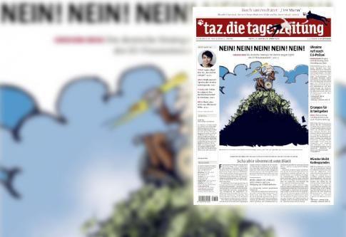 La une de la Tageszeitung de Berlin, le 20 février 2015