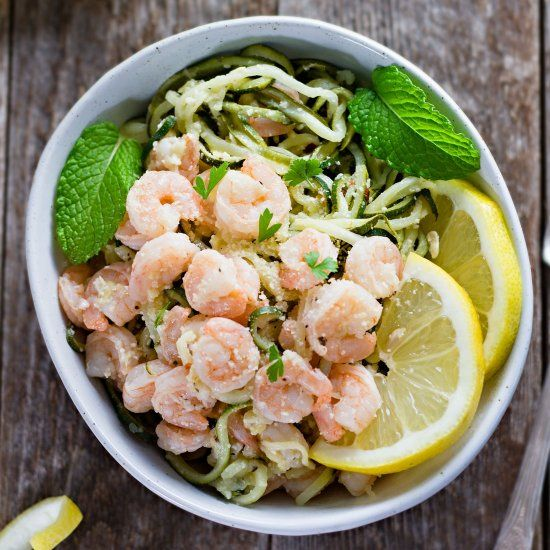 30 Easy Shrimp Recipes For Weeknight Dinners: One-Pot Shrimp Scampi W/ Zucchini Noodles