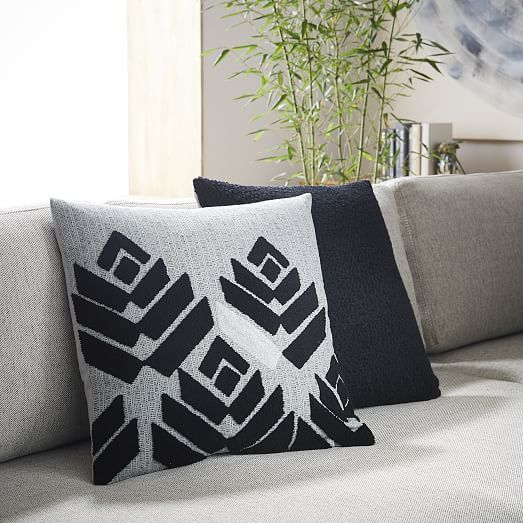 Crafted From 100 Cotton This Black White And Grey Monochrome Pillow Is Based DecorBlack