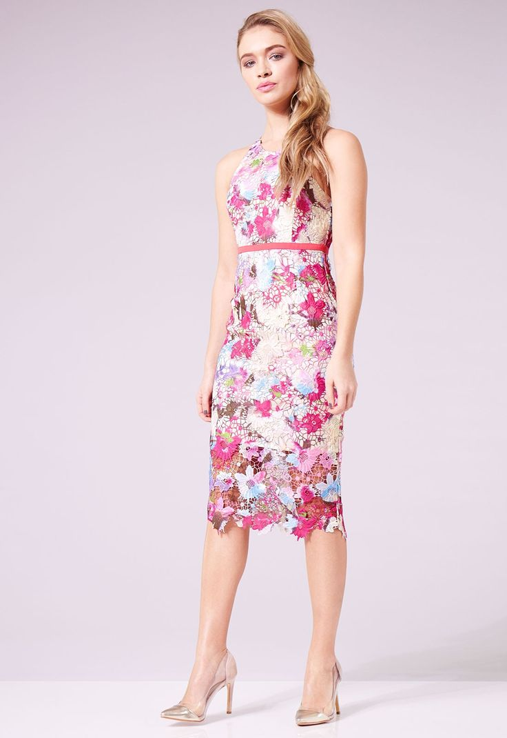 """Add an elegant touch of colour to your occasion wear wardrobe this season with our beautiful Hailey dress! Crafted from exquisite Guipure lace, this midi will have you party-ready for any occasion with its feminine design and summery colour palette. Finished at an elegant knee-length with a shorter lining, this figure-skimming design fits to the contours of your curves for a head-turning look. Fitted design Guipure floral lace Multicolour lace Rear zip fastening Midi length: Model is 5'8"""""""