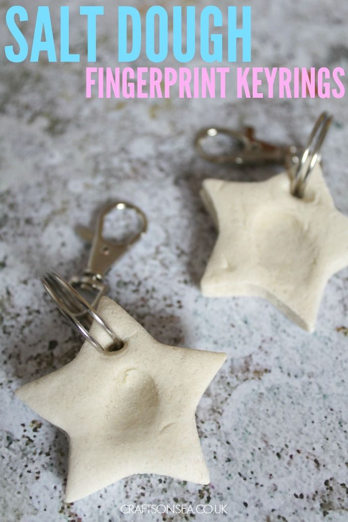 These simple salt dough fingerprint keyrings make fantastic keepsakes or gifts for Fathers Day or for grandparents.