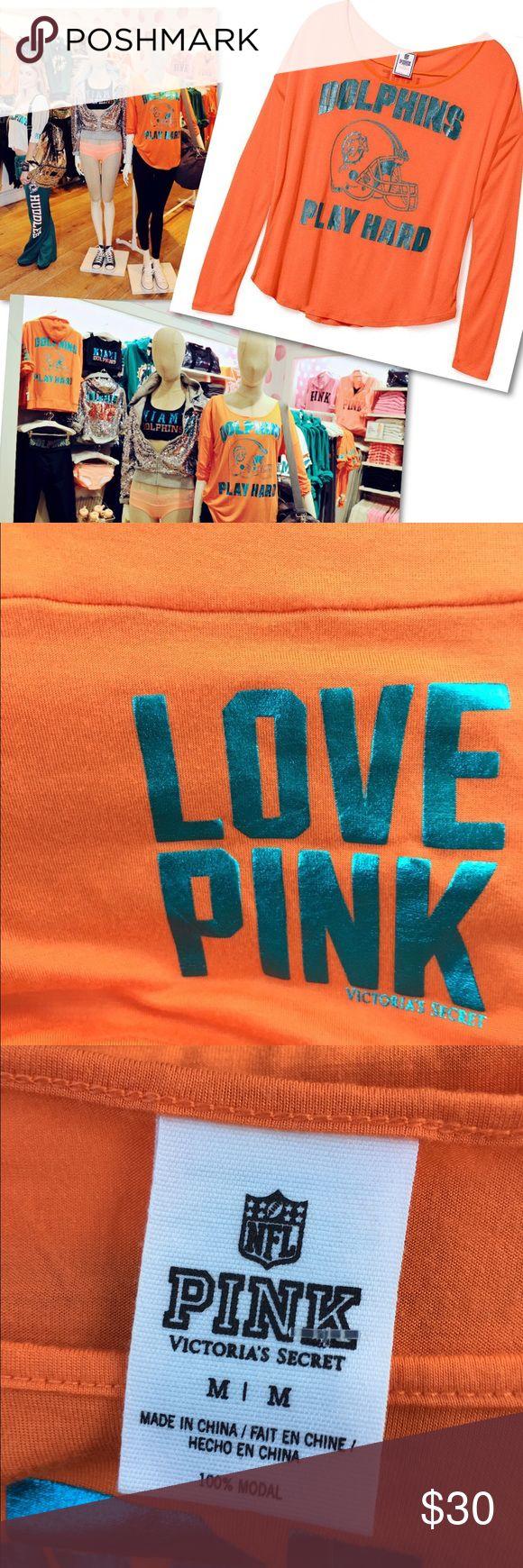 VICTORIA'S SECRET PINK MIAMI DOLPHINS NFL SHIRT VICTORIA'S SECRET PINK MIAMI DOLPHINS NFL SHIRT SZ M PINK Victoria's Secret Tops Tees - Long Sleeve