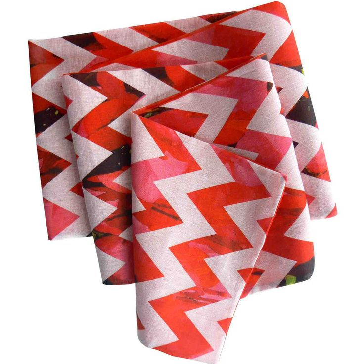 Ready for any party! Red & White & Beautiful, art print organic scarf, made in the USA.