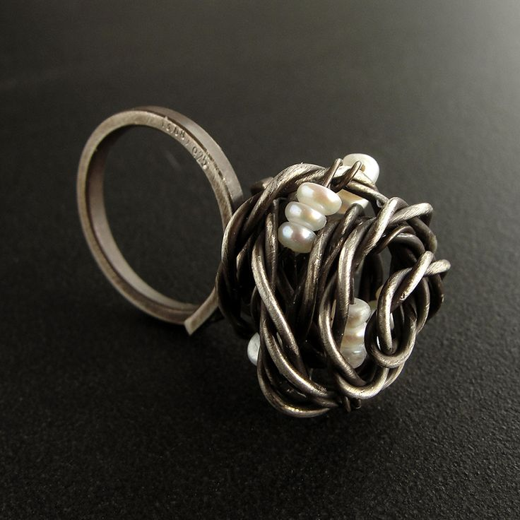 Handmade oxidized sterling silver ring with pearls