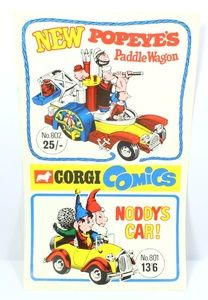 Vintage 1968 Corgi promotional Retailer banner announcing The Popeye Paddle Wagon and the Noddy Car with Golly