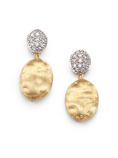 Marco Bicego - Pavé Diamond, 18K Yellow & White Gold Drop Earrings - Saks.com