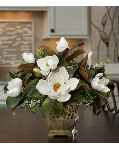 Handcrafted Silk Flower Centerpieces | Stately Silk Magnolia Centerpiece