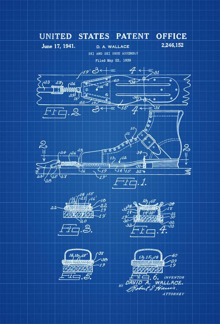 Ski Shoe Patent - Patent Print, Wall Decor, Ski Lodge Decor, Ski Decor, Cabin Decor, Ski Patent, Ski Boots by PatentsAsPrints on Etsy