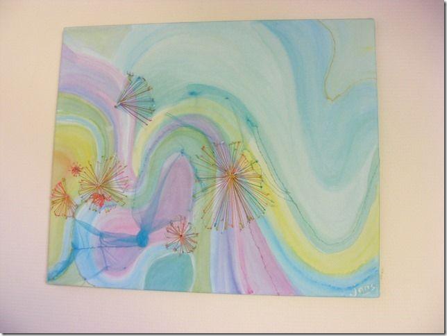 """Gemengde techniek schilderen  Abstract """"paardenbloemen'' gemaakt door Janny Korver"""