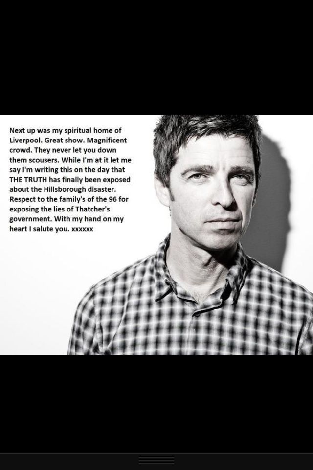 Gallagher on Hillsborough disaster. I salute you, Mr. Gallagher. You'll Never Walk Alone.