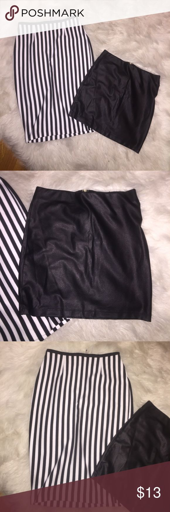 Cute skirts The stripped skirt is in size 0 and the black it's a small Skirts Skirt Sets