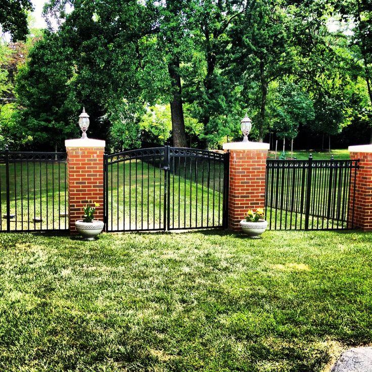 Custom Pillars with Black Aluminum Fence and Gate