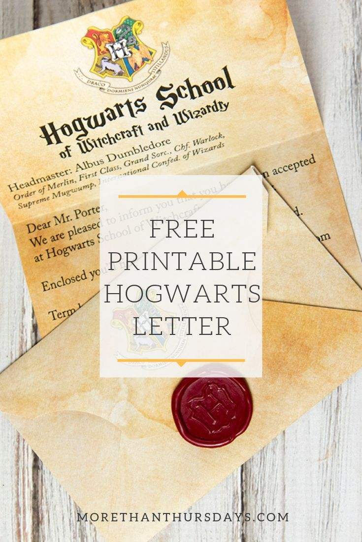 Free Printable Customizable Hogwarts Letter and Envelope