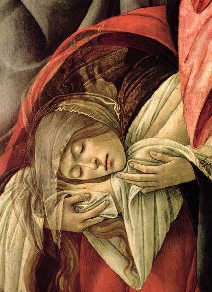 """Sandro Boticelli. Detalle de """"La Piedad"""" (conocida en italiano como Compianto su Cristo morto). pintado en 1495. Actualmente se conserva en el Museo Poldi Pezzoli de Milán (Italia). Se cree que esta obra fue un encargo de Donato de Antonio Cioli, miniaturista de códices, para Santa María Maggiore de Florencia.María Magdalena le besa los pies."""